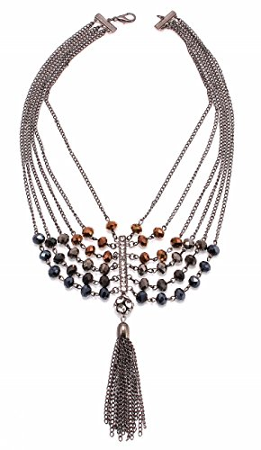 "C.A.K.E. By Ali Khan Necklace, 18"" Hematite-Tone Faceted Bead Rhinestone & Tassel Statement Necklace"