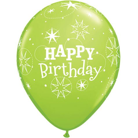 "11"" Birthday Sparkle Lime Gree Latex Balloons (10 per package)"