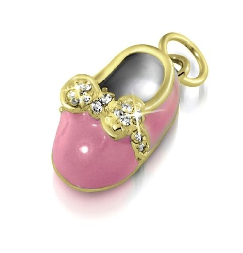 Christmas Gifts Bling Jewelry Gold Vermeil Mini Pink Enamel CZ Bow Baby Shoe Charm Pendant
