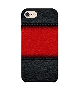 Red and Black leather 3D Hard Polycarbonate Designer Back Case Cover for Apple iPhone 7