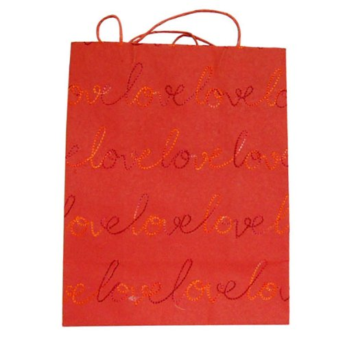 Valentine's day gift. Cotton Recycled Indian Handmade Paper Bag Red With Script Embroidery Love 3 Piece Lot