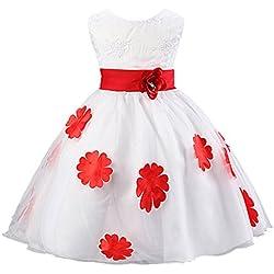 EOZY-Vestito Estivo di Cotone Misto e Organza Gonna Principessa con Fiore per Bambina Rosso Petto di 60cm