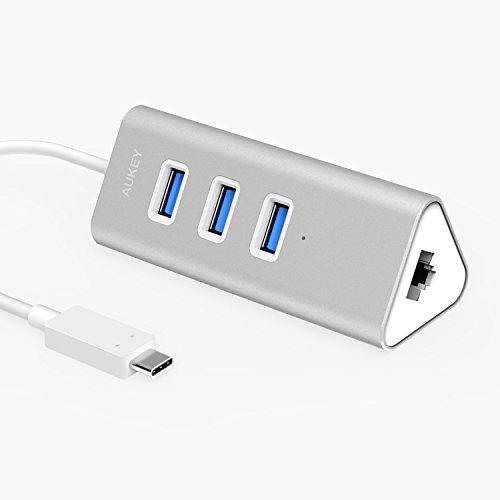 Aukey USB C ハブ 有線LAN付き 3x USB3.0 ハブ ( アルミニウム合金製、バスパワー、プラグ&プレイ、イーサネット) CB-C36
