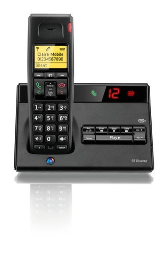 BT Diverse 7150 Dect Cordless Phone with Answer Machine - Black image