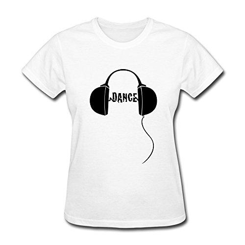 Ptcy Girls' Tee Dance Edm Headphones Us Size M White front-469115