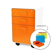 Poppin Fully Loaded West 18th File Cabinet 3-drawer 25'' Tall Letter/Legal White and Orange