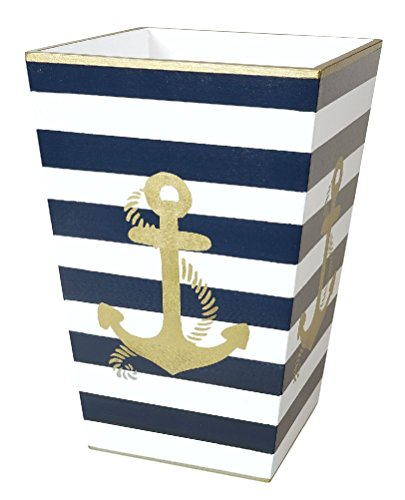 Mememall Fashion Trash Can Garbage Can Bathroom Accessories Sets Anchor Blue GoldBathroom Decor (Zebra Print Garbage Can compare prices)