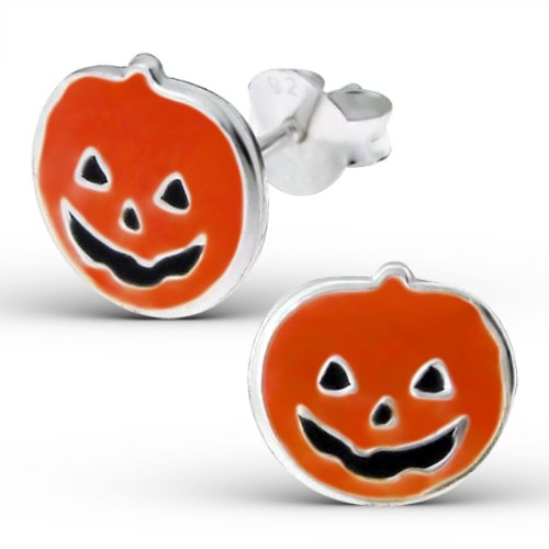 .925 Sterling Silver Halloween Pumpkin Stud Earrings
