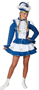 Karneval Funkenkostüm in blau-weiß mit Silberborte zu Fasching Gr.36