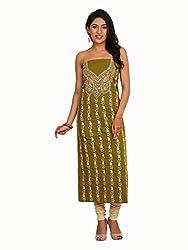 Mehndi Green Lizi Bizi Kantha Suit
