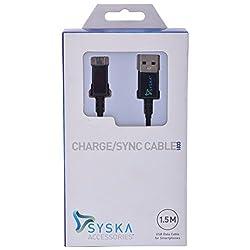 Syska USB Data Cable 1.5 M Black (Black)