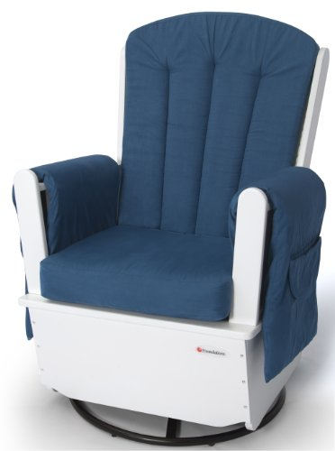 Foundations SafeRocker SS Swivel Glider Rocker, White/Blue - 1