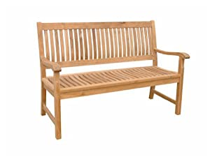 Del-Amo Teak Garden Bench Fabric : Canvas - Taupe