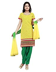 Utsav Fashion Women's Yellow Cotton Readymade Salwar Kameez-Medium