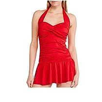 Suddenly Slim by Catalina Womens Retro Flirty Slimming Swimdress (Medium, Red)