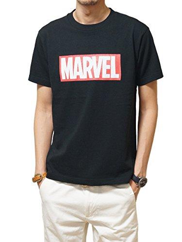 ヘッドルーム (headroom) 正規品 アメコミ Tシャツ MARVEL ボックスロゴ マーヴェル 綿100% アメカジ ブラック:L