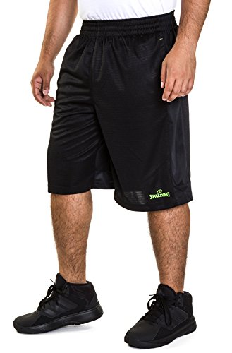 Spalding Mens Active Dazzle Basketball Gym Athletic Workout Shorts With Contrast Side Panel Black/Yellow Medium
