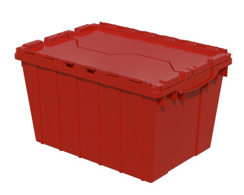 Akro-Mils 39120 21-1/2-Inch L by 15-Inch by 12-1/2-Inch Attached Lid Container Plastic Storage and Distribution Tote with Hinged Lid, Red, (Pack of 6) (Plastic Storage Containers Akro compare prices)