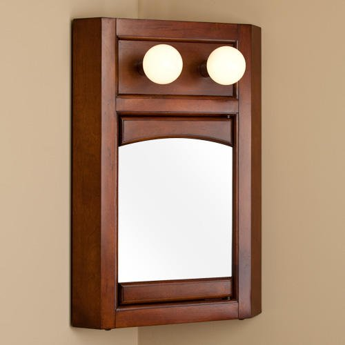 Lighted Corner Medicine Cabinet With Mirror - front-756439