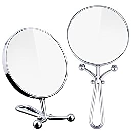 Compact Double Sided 1x-3x Magnification Handheld Makeup Mirror with Stand Round Reverse Cosmetic Mirror Tabletop Swivel Vanity Mirror Magnification Folding Mirror Chrome Finish 5.5\