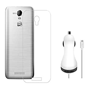 D'clair Premium Transparent Case Cover and Portronics 3 Port USB Car Chager With Cable for Micromax Q391 Canvas