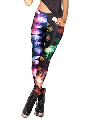 Women'S Fashion Digital Print Jellyfish Pattern Sexy Leggings(Multicoloured)