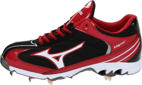 pictures of Mizuno Men's 9-Spike Lite Vapor Elite 5 Baseball Cleat,Black/Red,15 M US