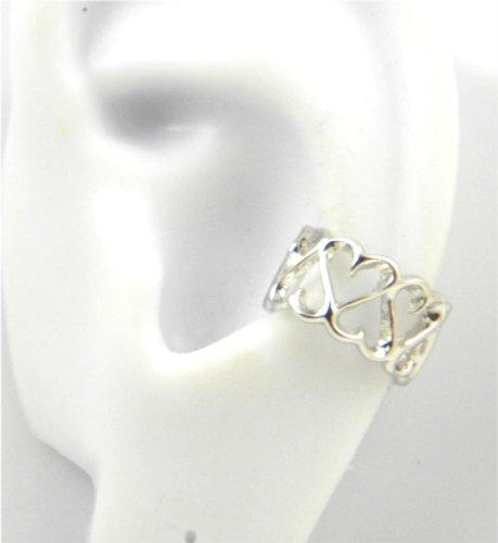 Sterling Silver Hearts Band Ear Cuff Earring