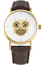 Charming gold/brown owl watch
