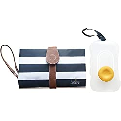 Lumiere Waterproof Diaper Changing Pad with BONUS Wipes Dispenser and Built-in Comfy Head Cushion, Portable Diaper Changing Station (Black & White Stripe)