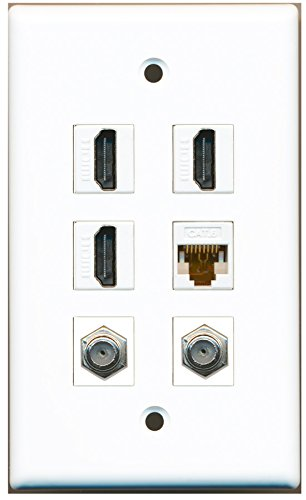 Riteav - 3 Hdmi 2 Port Coax Cable Tv- F-Type 1 Port Cat6 Ethernet White Wall Plate