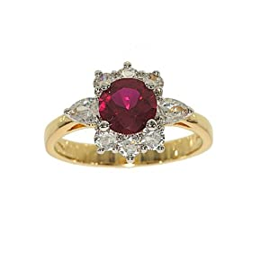 Perfect Size Two Tone Cluster Fashion Ring Done in Synthetic Ruby and Clear Cubic Zirconia Size 10