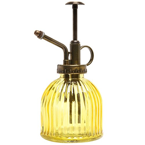 MyGift® Vintage Style Yellow Transparent Glass Water Spray Bottle / Decorative Plant Mister with Top Pump