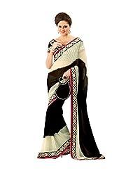 Anvi Creations Cream Black Georgette Embroidered Saree (Cream_Free Size)