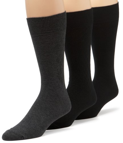 IZOD Men's Diamond, Heather & Flat Knit Dress Sock 3-Pack,Black,Sock size 10-13/Shoe Size 6-12.5