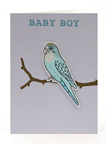 Petra Boase Baby Boy Budgie Applique Card front-921322