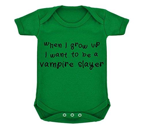 When I Grow Up I Want To Be A Vampire Slayer Design Body per neonato, colore: verde smeraldo con stampa, colore: nero verde 6-12 Mesi