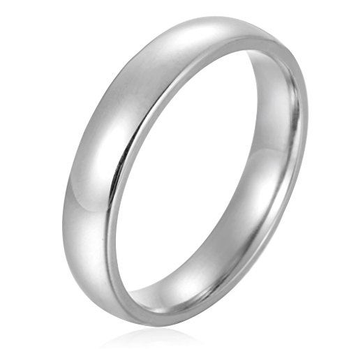 Besteel Stainless Steel Womens Mens Plain Wedding Band Ring Polished 4mm Size 8 (Stainless Steel Rings For Men compare prices)