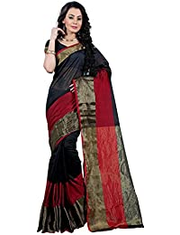 SK FASHIONS BLACK & RED Color Women's Cotton Saree With Pallu & Blouse (BLACK & RED_sk0033)