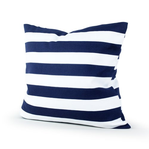 Lavievert Decorative Canvas Square Throw Pillow Cover Cushion Case Navy Blue Stripe Toss Pillowcase with Hidden Zipper Closure 16 X 16 Inches (For Living Room, Sofa, Etc)