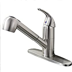 Ufaucet Best Commercial Brushed Nickel Stainless Steel Single Lever Single Handle Pull Out Sprayer Prep Kitchen Sink Faucets,Brushed Nickel Finished.