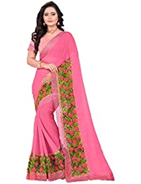 RIVA ENTERPRISE Chiffon New Design Designer Saree / Wedding Saree / Party Wear Saree, Pink Saree …