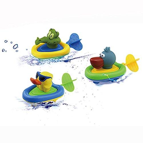 YOSWAN-Amphibious-Pull-and-Go-Boat-Car-Playset-Bathing-Soft-Rubber-Duck-Crocodile-Pelican-Animal-Boat-Swimming-Bathtime-Fun-Bath-Tub-Toys-for-Boys-Girls-Toddlers-DuckCrocodilePelican
