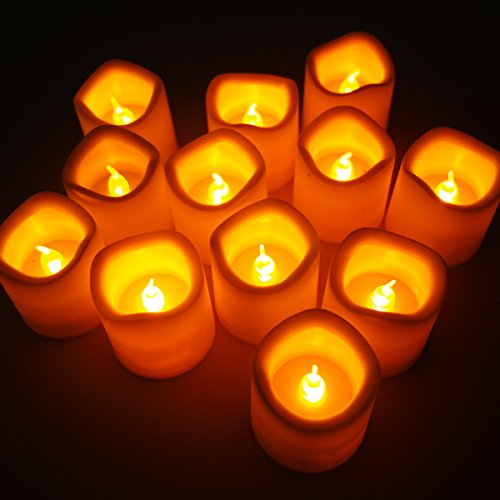 Set Of 12 Flickering Flameless Led Tea Light Amber Yellow Candle Tealight For Wedding Party Club Decor In White F-Ld026