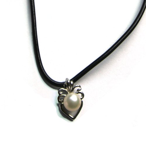 Silver Plated Heart Pendant with Freshwater Cultured Pearl and Leather Chain Necklace