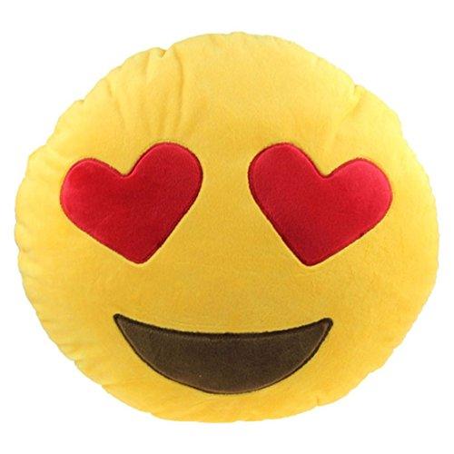 Emoji FPBS Cuscino peluche, motivo:// Emoji Smile, Cuscino, cuscino Emoji Emoji Cuscino////Kiss-Cuscino a forma di cuore, occhi-Cuscino/Devil Pillow..., Cotone, giallo, Heart Eyes