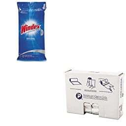 KITDRACB702325IBSS303710N - Value Kit - Windex Glass amp;amp; Surface Wet Wipe (DRACB702325) and IBS S303710N High Density Commercial Coreless Roll Can Liners, Natural (IBSS303710N)