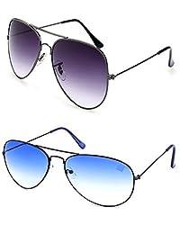 MagJons Blue And Black Aviator Sunglasses Set Of 2 (With Box)
