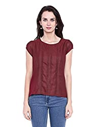 Fabindia Women's Body Blouse Shirt (10425414_Maroon_Small)