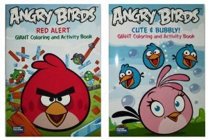 "Angry Birds ""Cute & Bubbly!"" & ""Red Alert"" Set (2 Pack) 96 Page Coloring and Activity Book - 1"